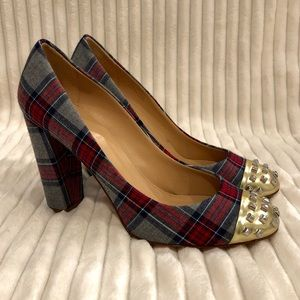 J Crew Wool Tartan Plaid Gold Stud Etta Heel Pump